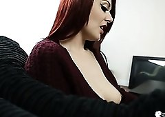 Perfect sweater babe with nice tits to stare at