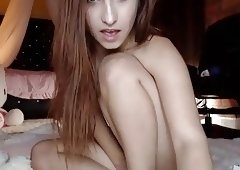 Extremely cute girl rides a dildo and Hitachis to orgasm