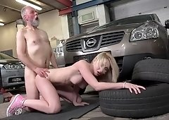 Young Frances gets banged & mouth cum sprayed by old man in the basement