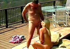He enjoys playing with her in open in nude