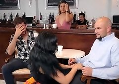 Curvy latina AliceafterDark gets fucked next to her bf in the coffee shop