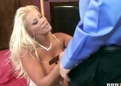 Bonny blond MILF JR Carrington attending in cum shot porn video
