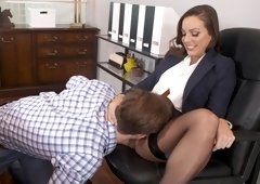 Curvaceous woman got fucked in her office