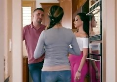 Busty Raven Bay enjoys the kitchen for a good shag