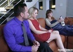 Alluring blonde Zoey Monroe fucks one dude in the presence of his sleeping GF