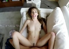 Hardcore missionary pussy drilling with slutty Kimmy Granger