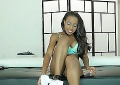 Stunning ebony chick Robyn loves to feel a big dick up her twat