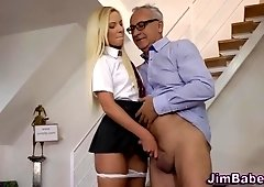 Uniformed young girl makes old daddy cum