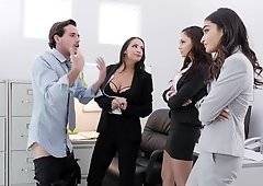 Naughty babes make office orgy
