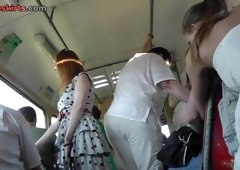 Candid upskirts of the amateur girl in polka dot dress