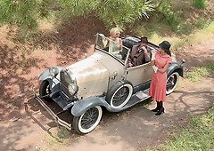 Retro porn where Bonnie and Clyde have a hot threesome