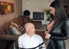 Bald stud dragged into anal sex with smoking-hot burglar