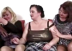 Three amateur mature women sharing young cock