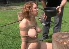 Seductive gal acting in BDSM video