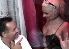 Smoking sexy babe with shaved pussy gives a steamy blowjob