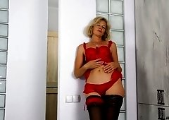 Old woman in sexy red lingerie Diana Gold is toying her hairy muff