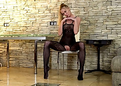 Russian hoe in body stockings Tatiana is playing with nasty pussy