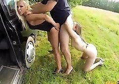 New taxi driver Barbie Sins Taxi training leads to threesome