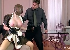 Maid in latex uniform Lucy Latex gives serves her masters like nobody else before