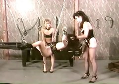 Insatiable white brunette bound and stranded with chains