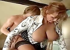 Hot mature is wildly fucking on the kitchen counter with her boyfriend