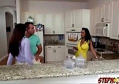 Lucky guy fulfills fantasy by fucking her gf and stepmom