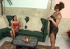 Skinny brunette girl gets her ass punished by a nasty mistress