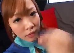 satin glove Japanese lady handjob