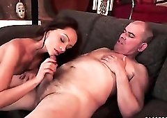 Stocking footjob arouses him for a hot fuck