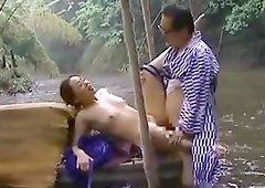 Japanese couple fucks in the river