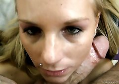 Sexy babe Barbie White gives splendid blowjob to Rocco on a pov camera