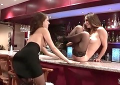 Cassidy Klein and Jenna Sativa finger each other in a bar