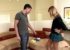 Cute college chick in short kilt skirt is fucked by one horny guy