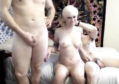 Blonde amateur babe does threesome