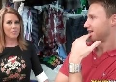 Tempting tattooed mom Grace in real blowjob video