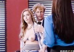 Big Breasted Boss Caught Her Employees Fucking In The Office