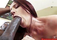 Anal loving babe banged by a fat black prick
