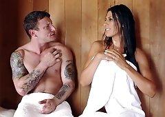 Naughty brunette sucked dick in the sauna