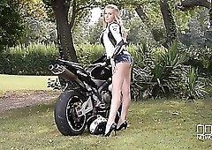 Stunning biker babe in a fantastic black bikini