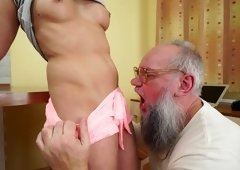 Cute slut is facialized after sex with old swain