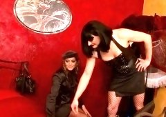Breathtaking babe gets bound up and gagged by naughty domina