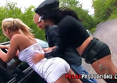 Policeman and his sexy partner arrest and fuck sexy Canadian whore Sarah Vickers