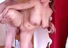 Sexy wife with big natural tits, playing with a stranger's cock