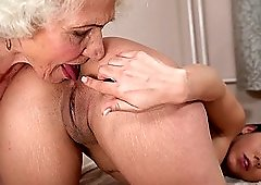 Granny Norma eating the pussy of alluring Aysha who returns the favor