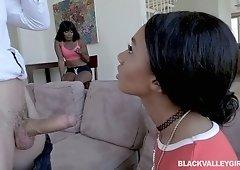 Two ebony girls enjoy having crazy threesome sex with one white dude