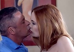 Redhead Eva Berger works her asshole on boss's dick