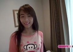 Cute Asian local girl sucked by tourist in hotel room
