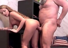 Young blonde bends booty for grandpa