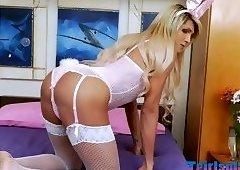 Naughty teen rabbit wanks in the bedroom