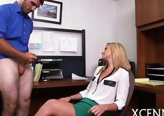 Blonde boss orders her employee to jerk off for her